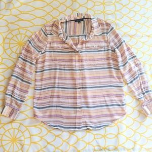 Tommy Hilfiger Button Up Flannel Striped Top